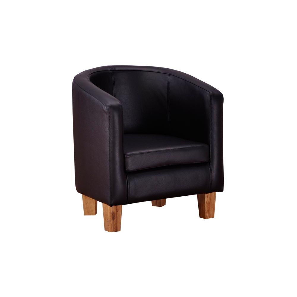 Clubfåtölj Astrid svart läder Nilssons möbler i Lammhult