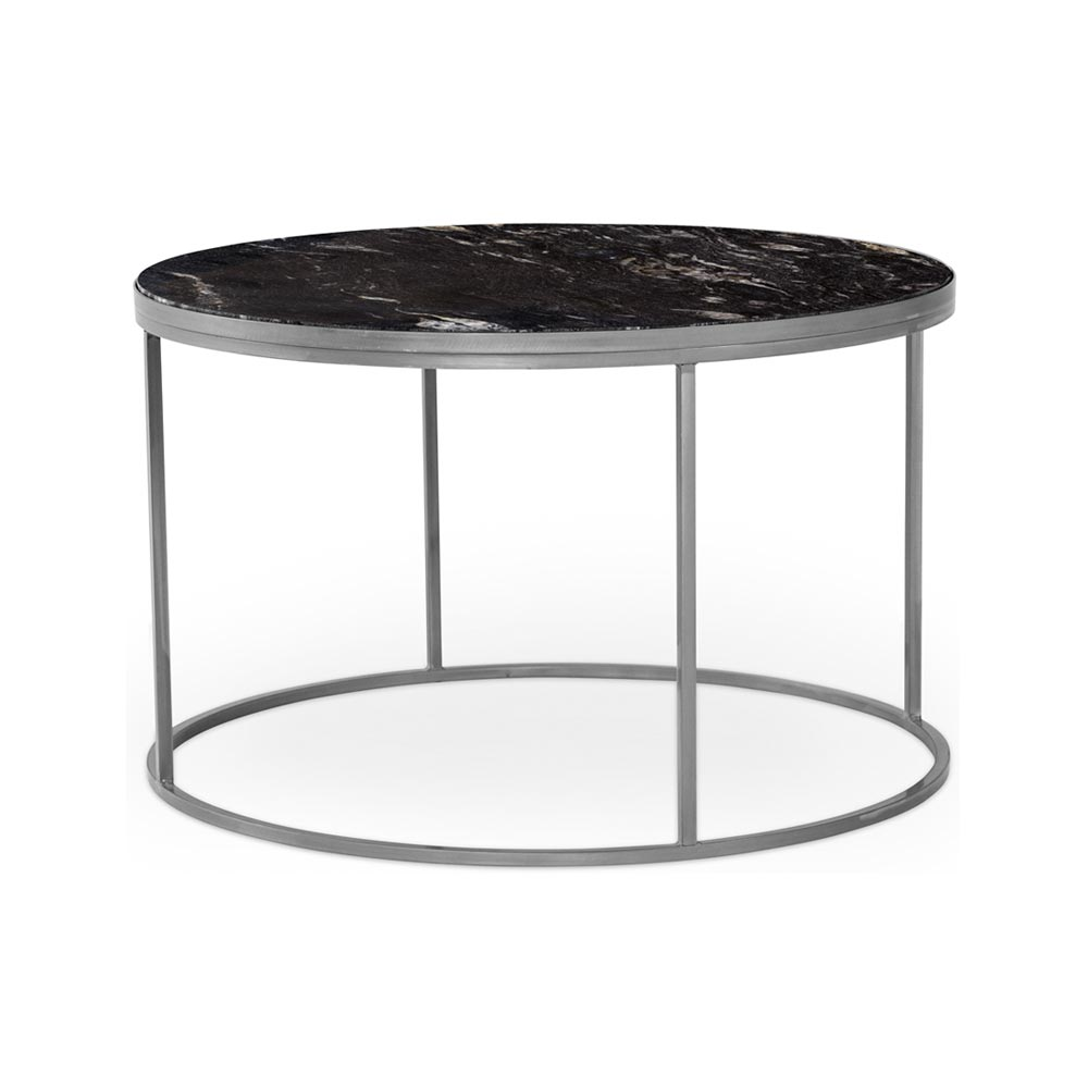 Bergen soffbord runt 85 marmor svart metall klar Nilssons Möbler i Lammhult AB