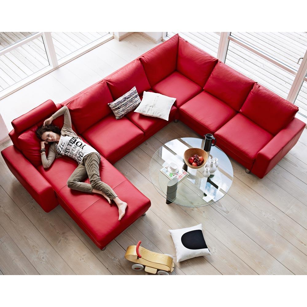 Populära Stressless E200 soffa - läder batick chilli red - Nilssons Möbler IQ-99