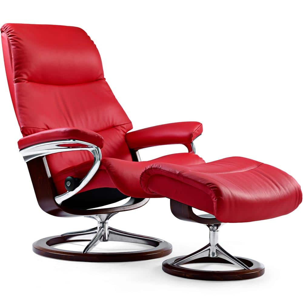 Splitter nya Stressless View fåtölj M & pall - läder batick chilli red JI-47